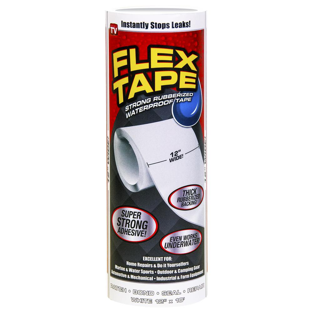 Flex Tape Flex Tape 12 in. x 10 ft. White Strong Rubberized Waterproof Tape
