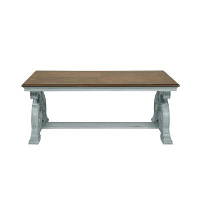 Myrtle 50 in. Oak/Antique Blue Large Rectangle Wood Coffee Table