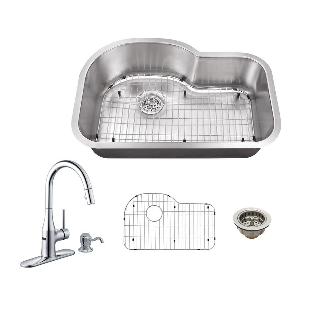 undermount kitchen sink with faucet holes schon all in one undermount stainless steel 32 in 0 27597