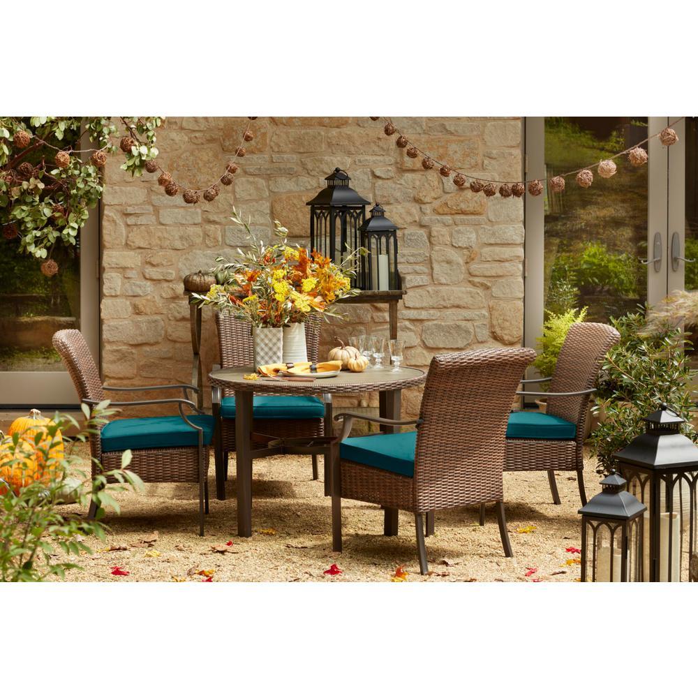 Harper Creek Brown 5-Piece Steel Outdoor Patio Dining Set with Sunbrella Peacock Blue-Green Cushions