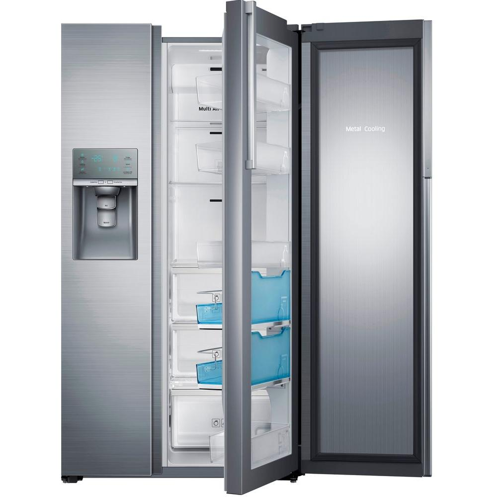 Samsung 21.5 cu. ft. Side by Side Refrigerator in Stainless Steel, Counter Depth Food Showcase Design