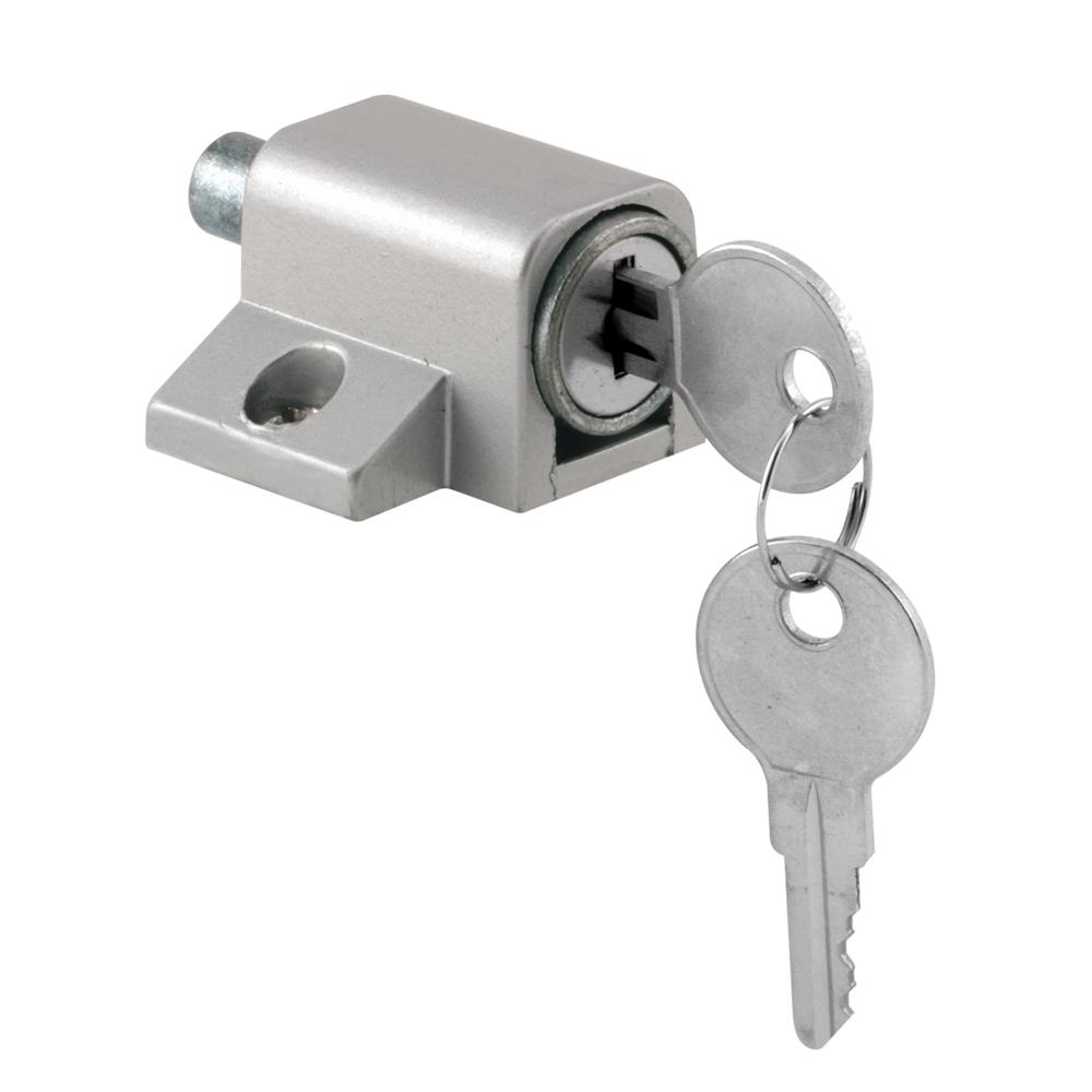 Prime line gray keyed push in sliding door lock u 9861 for Home depot sliding glass door lock