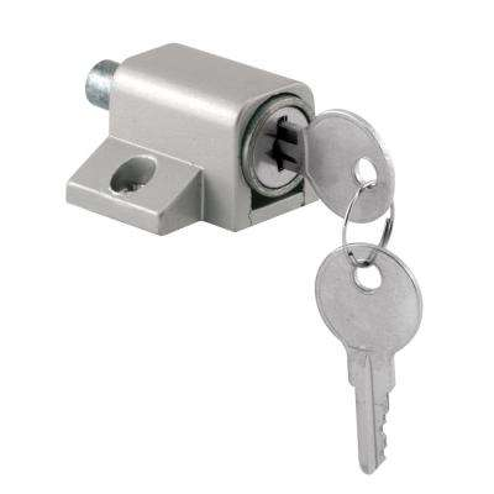 Gray Keyed Push-In Sliding Door Lock