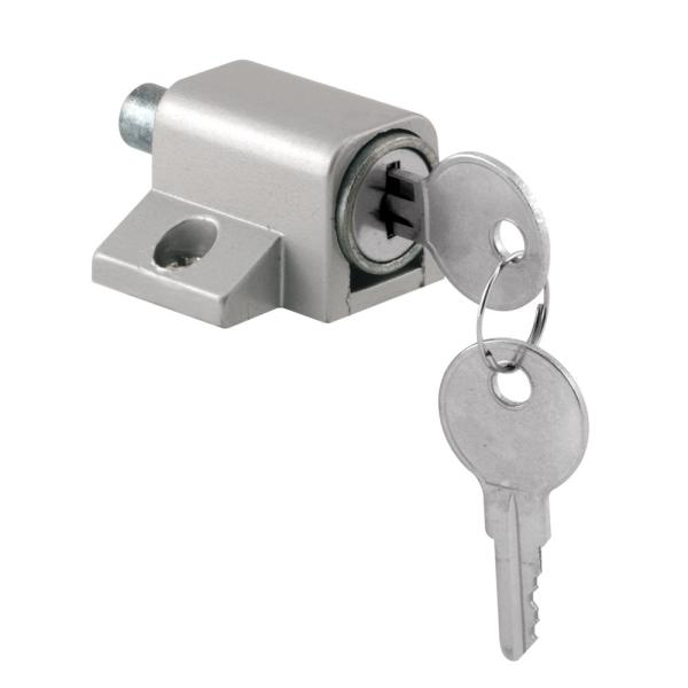 Prime Line Push In Sliding Door Keyed Lock Aluminum Finish U 9861 The Home Depot