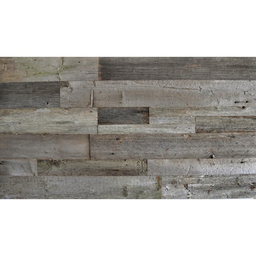 Reclaimed Barn Wood Gray 3 8 In Thick X Varying W Length Solid Hardwood Wall Planks 20 Sq Ft Case 200502 The Home Depot