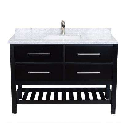 Natalie 48 in. W x 22 in. D x 34 in. H Vanity in Espresso with Carrera Marble Vanity Top in White with White Basin