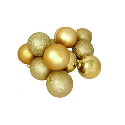 3.25 in. (80 mm) Shatterproof Vegas Gold 4-Finish Christmas Ball Ornaments (32-Count)