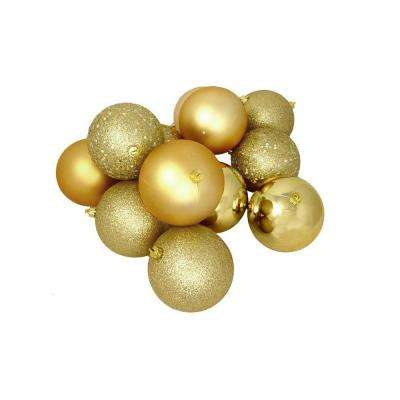 80 mm shatterproof vegas gold 4 finish christmas ball ornaments - Gold Christmas Decorations