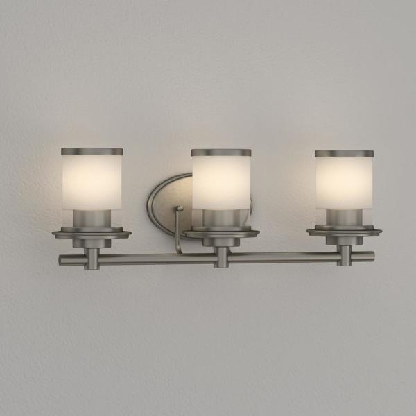 Hampton Bay Truitt 3 Light Brushed Nickel Vanity Light With Clear And Sand Glass Shades Hb2577 35 The Home Depot