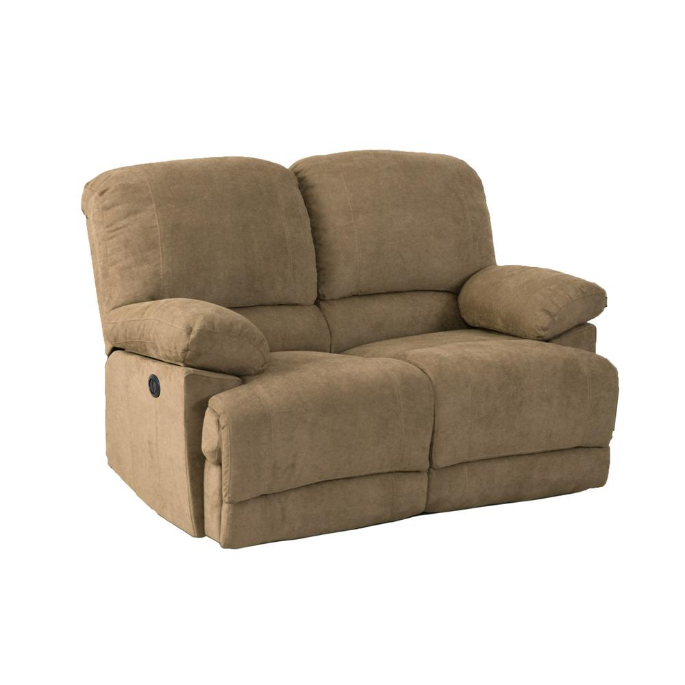 Lea Brown Chenille Fabric Power Reclining Loveseat with USB Port