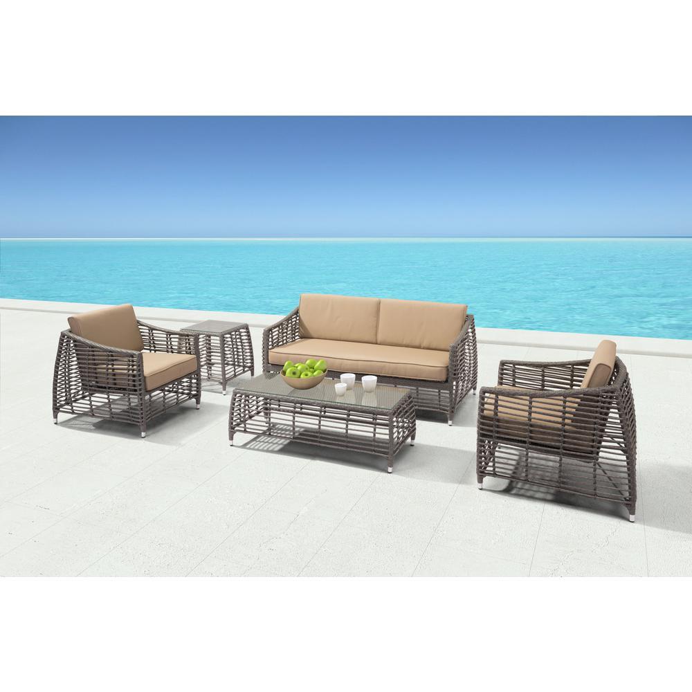 Trek Beach Aluminum Outdoor Lounge Chair with Beige Cushion