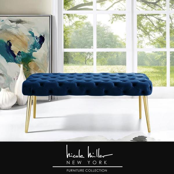 Nicole Miller Shannyn Navy Gold Velvet Bench With Button Tufted Metal Leg Nbh130 02ng Hd The Home Depot