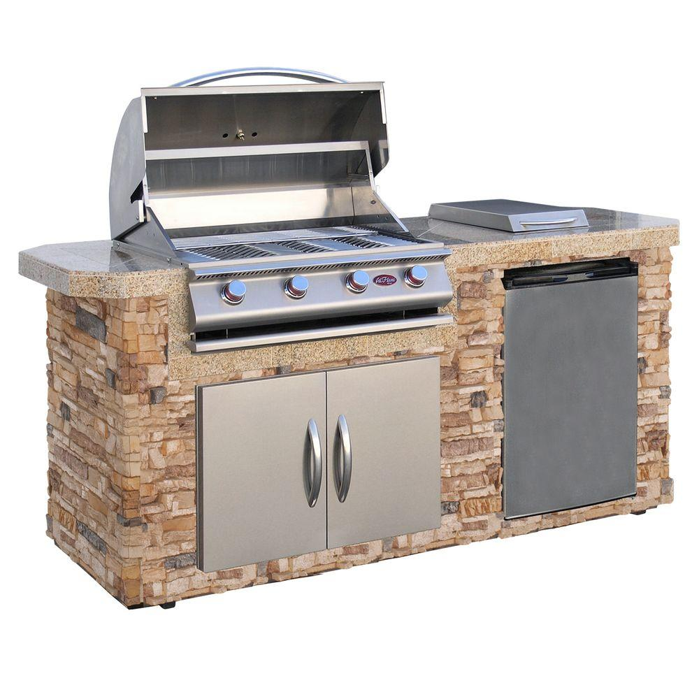 Cal Flame 7 ft. Stone Grill Island with 4-Burner Stainless Steel Propane Gas Grill