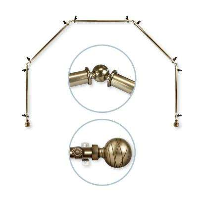 Arman 5 to Sided 13/16 in. Dia Bay Window Curtain Rod in Antique Brass