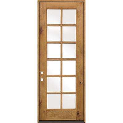 32 in. x 96 in. Classic French 12-Lite w/Low-E IG Left-Hand Inswing Unfinished Knotty Alder Exterior Prehung Front Door