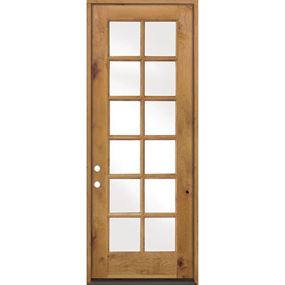 32 in. x 96 in. Classic French Alder 12-Lite Clear Low-E
