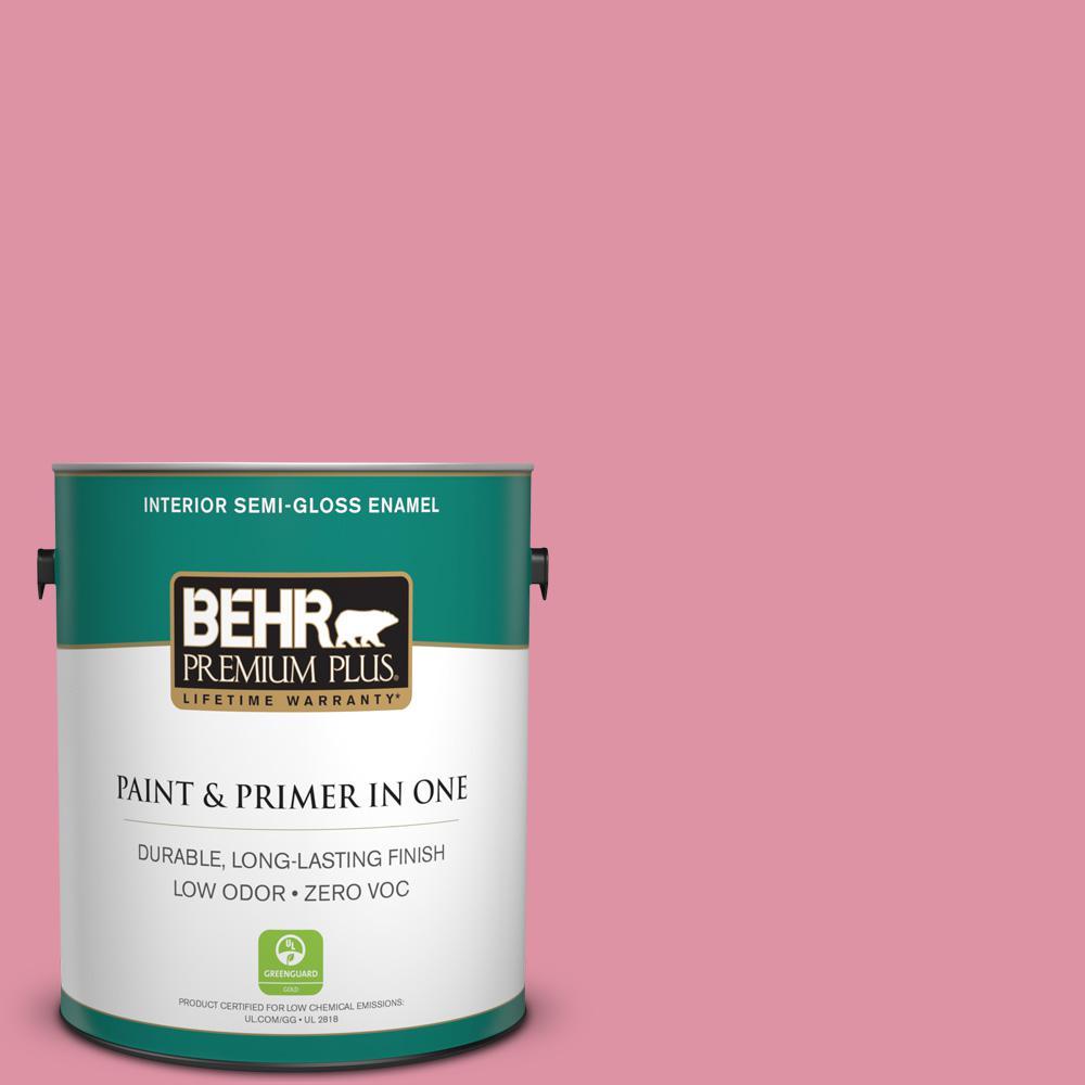 BEHR Premium Plus 1-gal. #120C-3 Rose Marquis Zero VOC Semi-Gloss Enamel Interior Paint