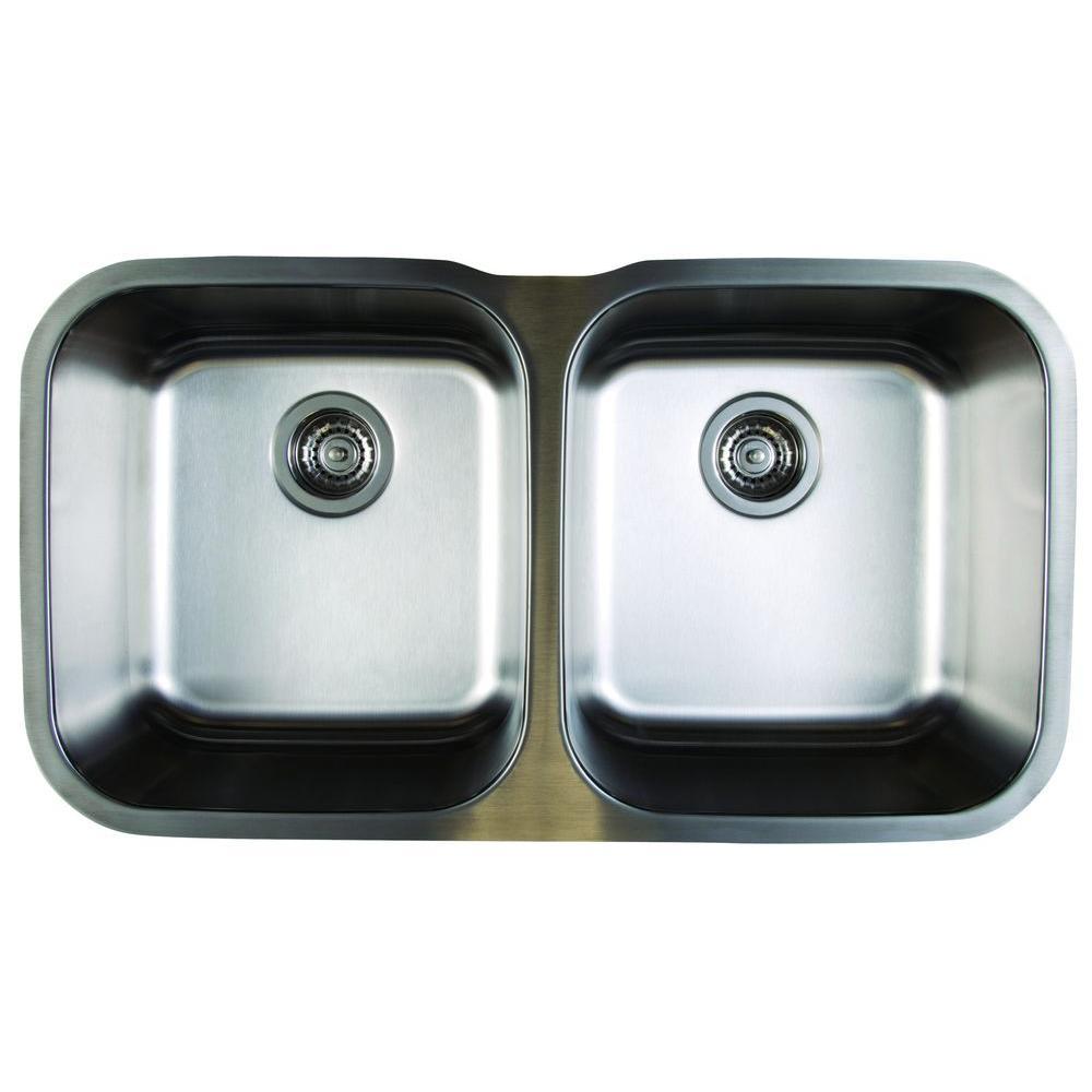 stellar undermount stainless steel 33 in equal double bowl kitchen sink