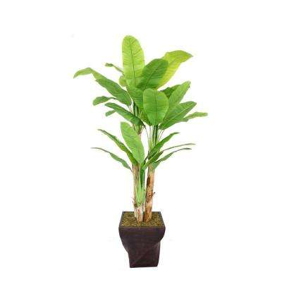 82 in. Tall Banana Tree with Real Touch Leaves in 17 in. Fiberstone Planter