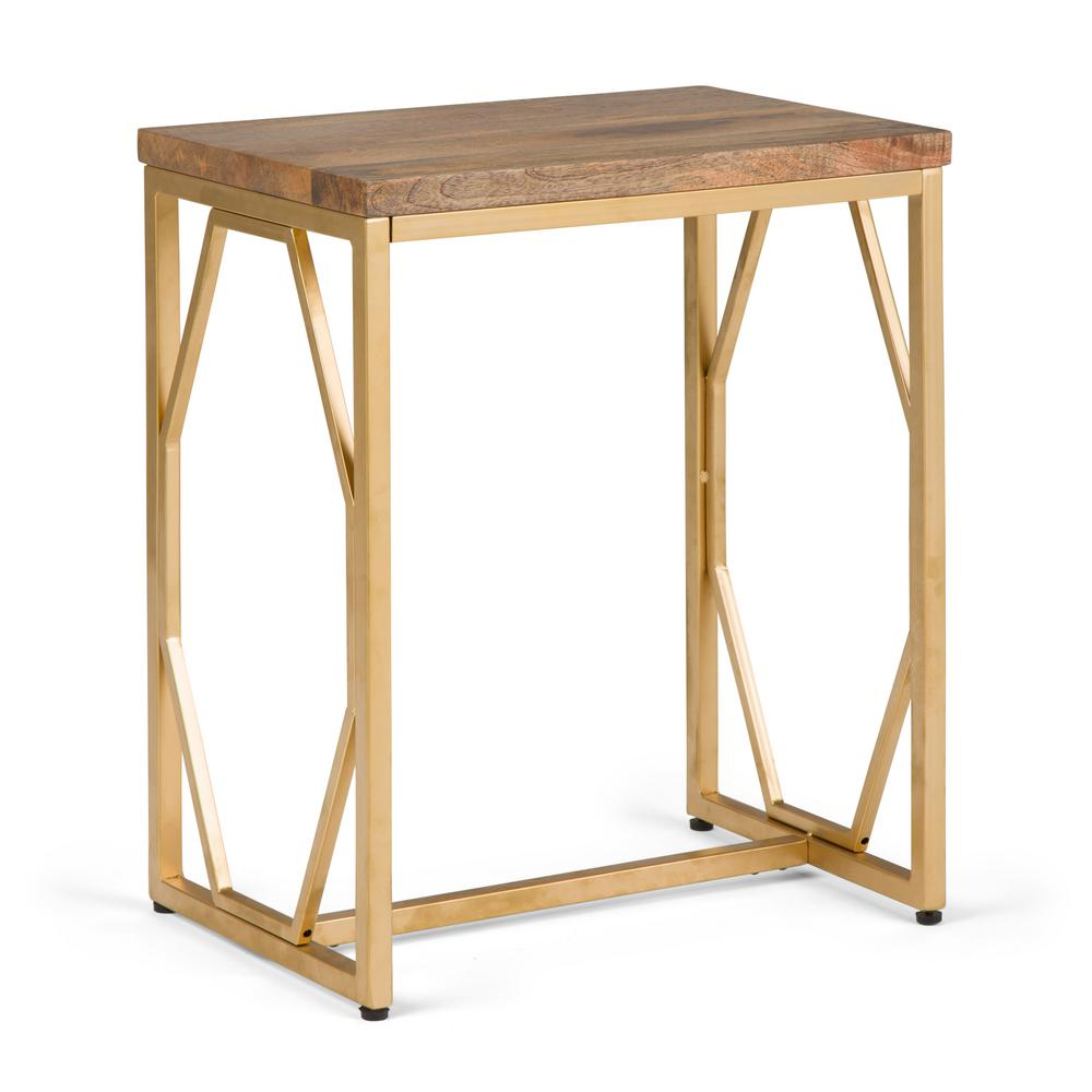 Simpli Home Selma Natural And Gold Metal Wood Accent Table