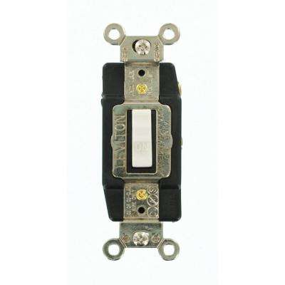 20 Amp Industrial Grade Heavy Duty Single-Pole Double-Throw Center-Off Maintained Contact Toggle Switch, White