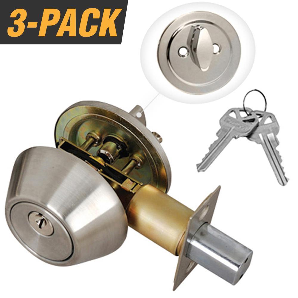 Stainless Steel Entry Door Lock Single Cylinder Deadbolt with 6 KW1 Keys (3-Pack, Keyed Alike)
