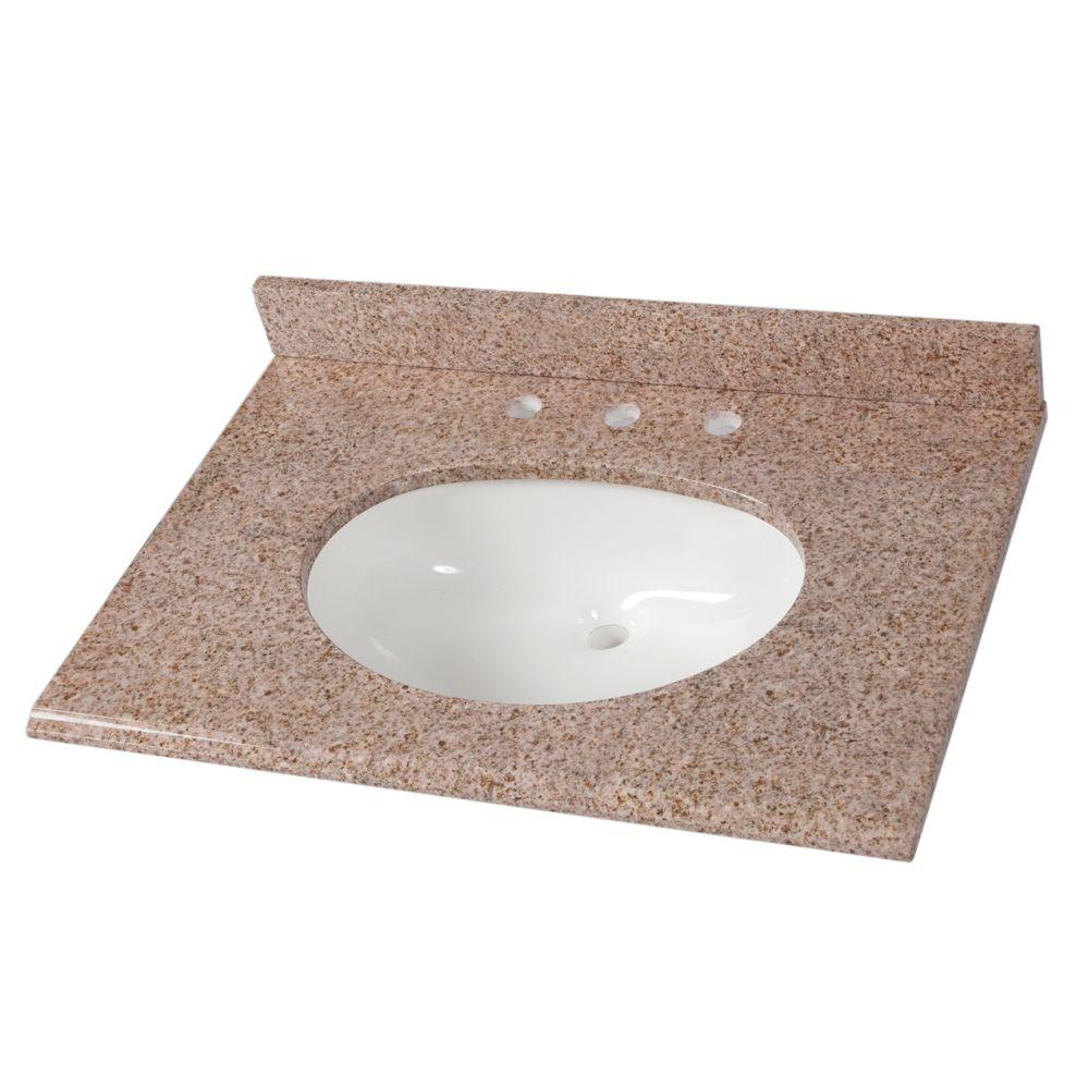St. Paul 31 in. W Stone Effects Composite Vanity Top in Sienna with ...