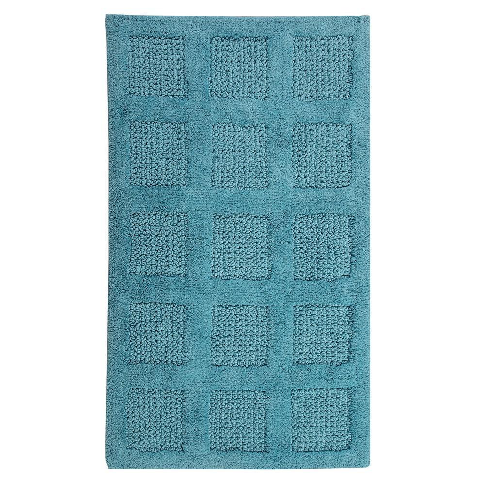 Aqua 21 in. x 34 in. Square Honeycomb Reversible Bath Rug