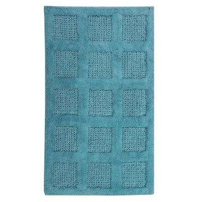 Aqua 21 in. x 34 in. Square Honeycomb Reversible Bath Rug