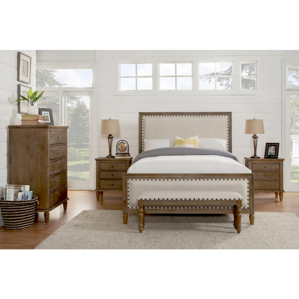 Luxeo cambridge 5 piece king bedroom set with solid wood and upholstered trim in oak gray lux for Grey wood bedroom furniture set
