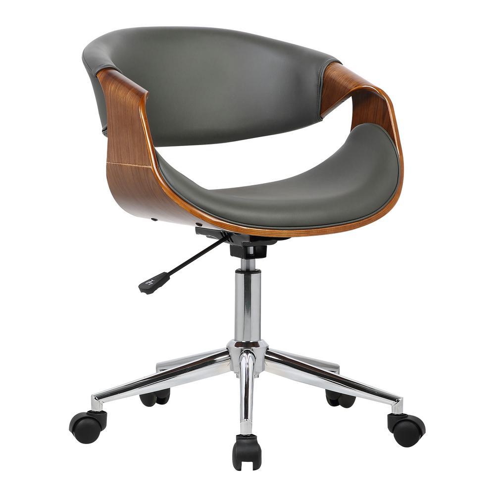 Tremendous Armen Living Geneva 33 In Gray Faux Leather And Chrome Creativecarmelina Interior Chair Design Creativecarmelinacom