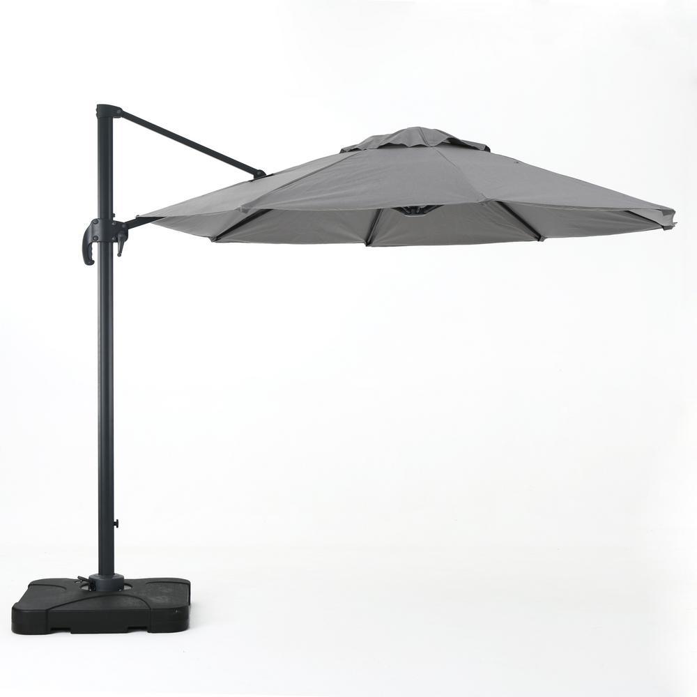 9.83 ft. Aluminum Cantilever Tilt Patio Umbrella in Gray