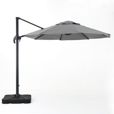 9.83 ft. Aluminum Cantilever Tilt Patio Umbrella in Gray