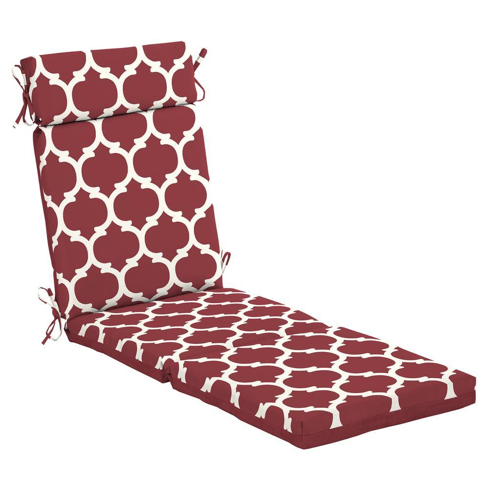 Hampton Bay 21.5 x 72 Frida Trellis Outdoor Chaise Lounge Cushion