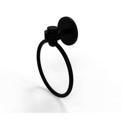 Satellite Orbit One Collection Towel Ring with Dotted Accent in Matte Black