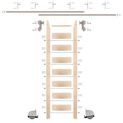 8 ft. Maple Ladder (9 ft. Reach) Satin Nickel Contemporary Rolling Hook Hardware 12 ft. Rail and Vertical Brackets