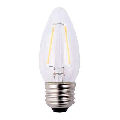 25W Equivalent Soft White B11 Dimmable Filament LED Light Bulb (12-Pack)