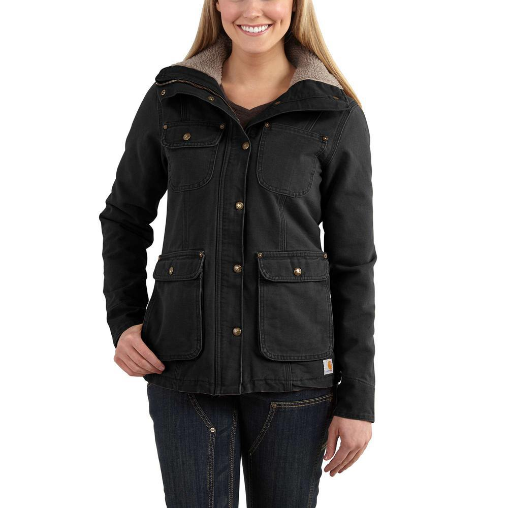 9facdb540 Carhartt Women's XX-Large Black Weathered Duck Wesley Coat