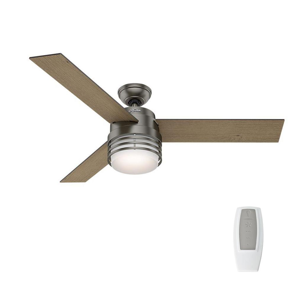 Hunter mayford 54 in led indoor brushed slate ceiling fan with hunter mayford 54 in led indoor brushed slate ceiling fan with light kit and remote aloadofball Gallery