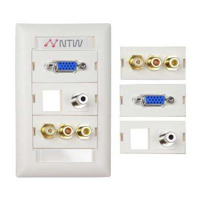 Customizable Unimedia VGA, Composite Video RCA Stereo Audio, 3.5 mm Audio and Keystone Hole Wall Plate and ID Tag, White