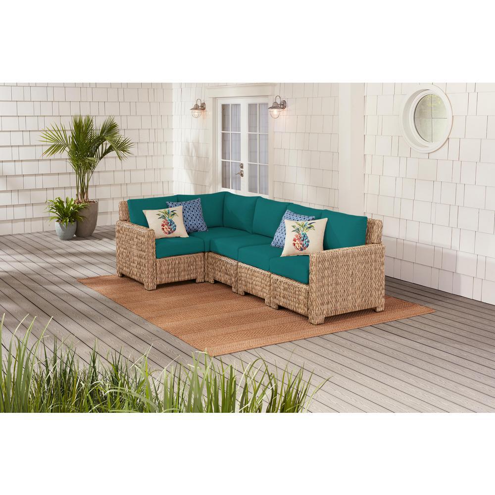 Laguna Point 5-Piece Natural Tan Wicker Outdoor Patio Sectional Sofa with Sunbrella Peacock Blue-Green Cushions