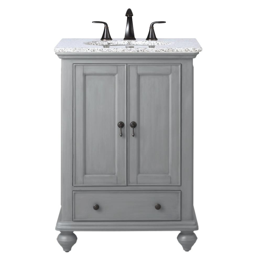 Home Decorators Collection Newport 25 In W X 21 1 2 In D Bath Vanity In Pewter With Granite Vanity Top In Grey 9085 Vs25h Pg The Home Depot