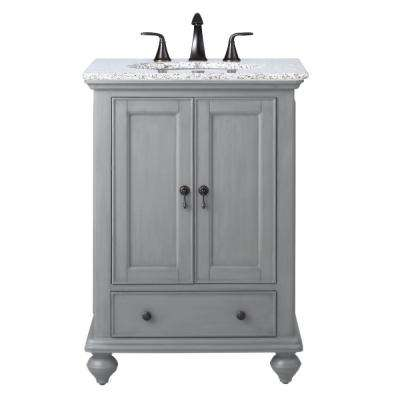 Newport 25 in. W x 21-1/2 in. D Bath Vanity in Pewter with Granite Vanity Top in Grey