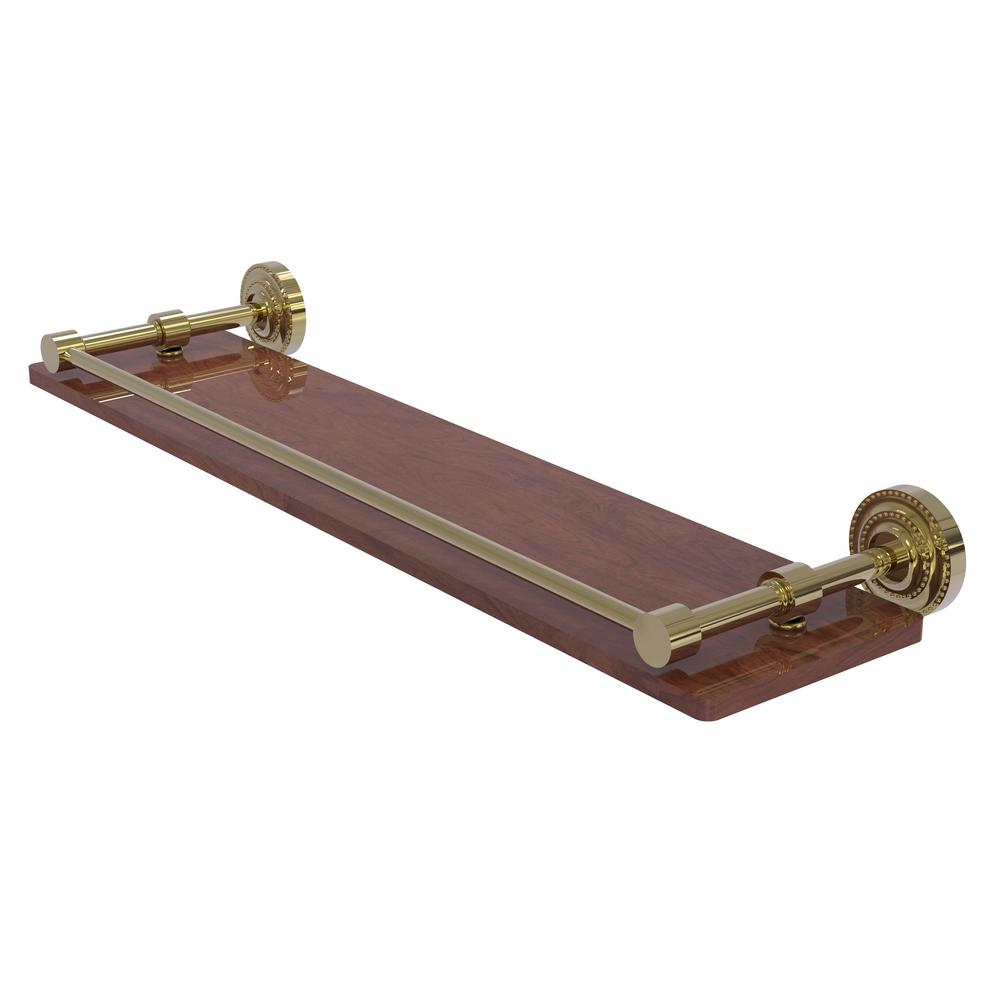 Allied Brass Dottingham Collection 22 in. Solid IPE Ironwood Shelf with Gallery Rail in Unlacquered Brass