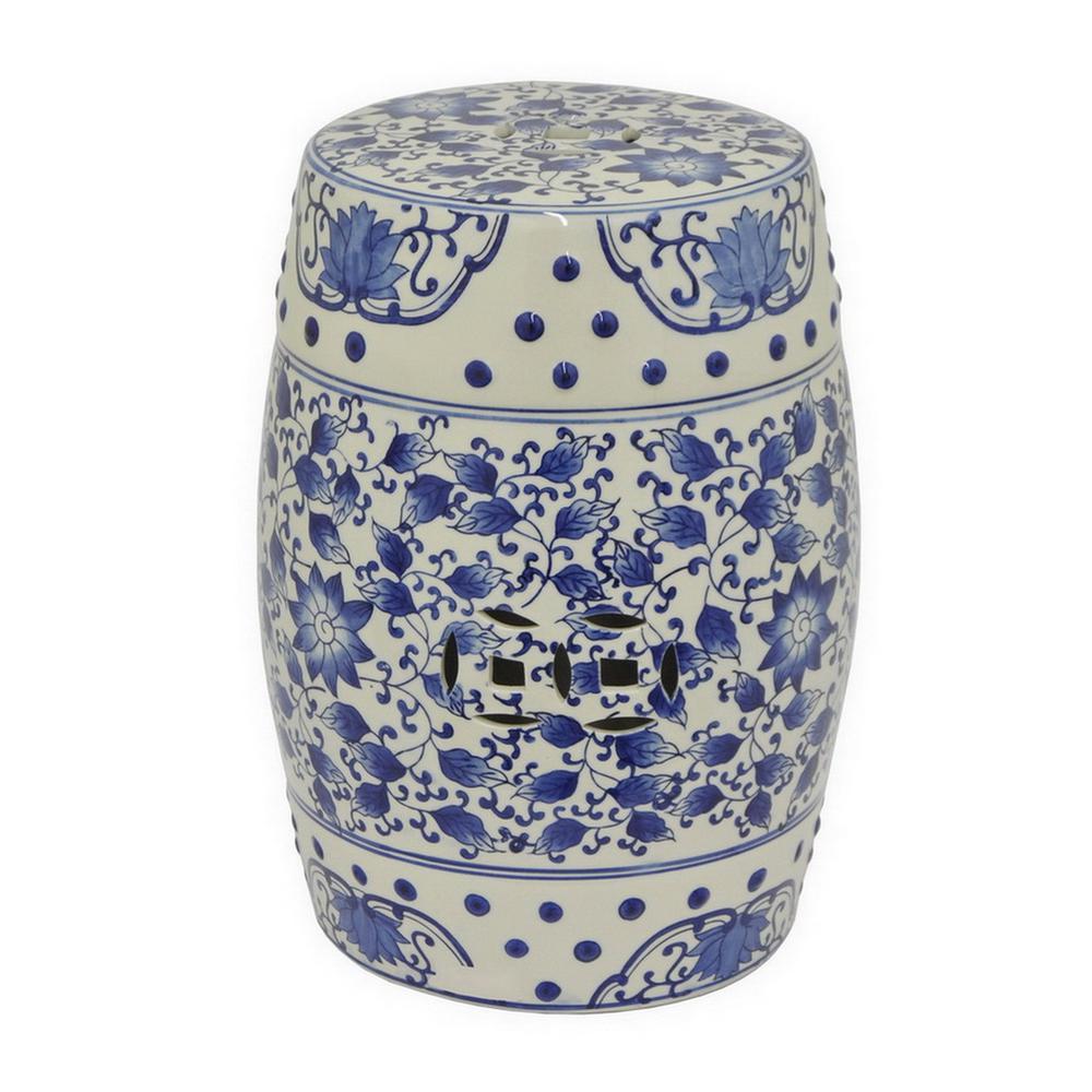 18 in. x 13 in. Blue and White Ceramic Garden Stool