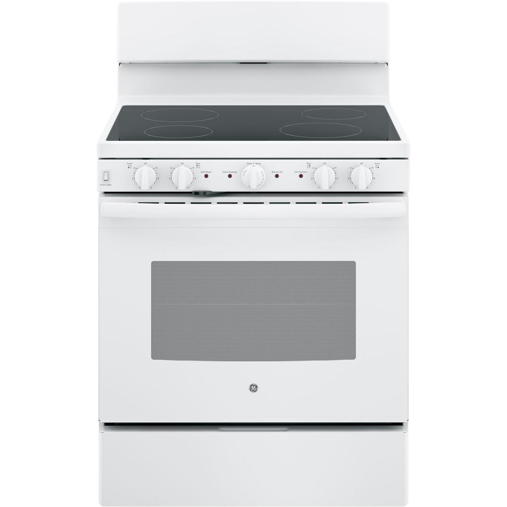 30 in. 5.0 cu. ft. Electric Range with Self-Cleaning Oven in White GE appliances provide up-to-date technology and exceptional quality to simplify the way you live. With a timeless appearance, this family of appliances is ideal for your family. And, coming from one of the most trusted names in America, you know that this entire selection of appliances is as advanced as it is practical. Color: White.