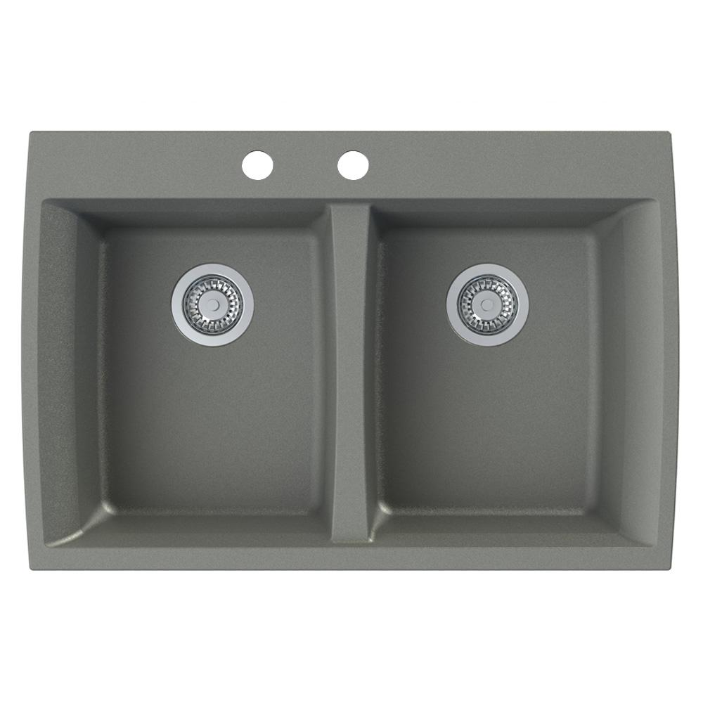 Transolid Genova Dual Mount Granite 33 in. 2-Hole Equal Double Bowl Kitchen Sink in Grey