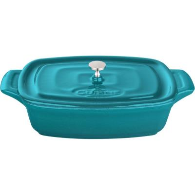Mini Rectangular 7 in. Cast Iron Casserole in High Gloss Teal