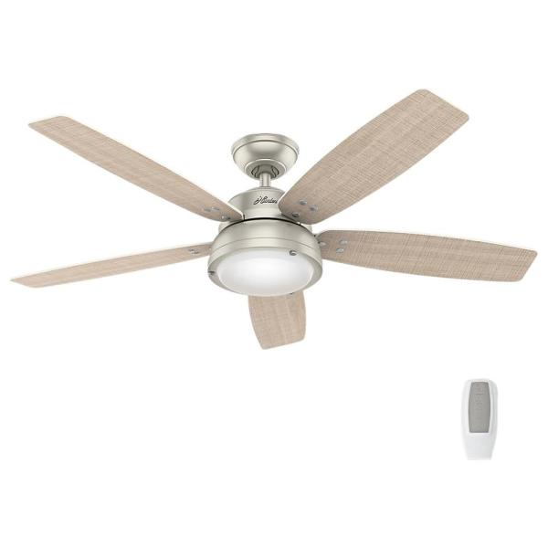 Channelside 52 in. LED Indoor/Outdoor Matte Nickel Ceiling Fan with Remote