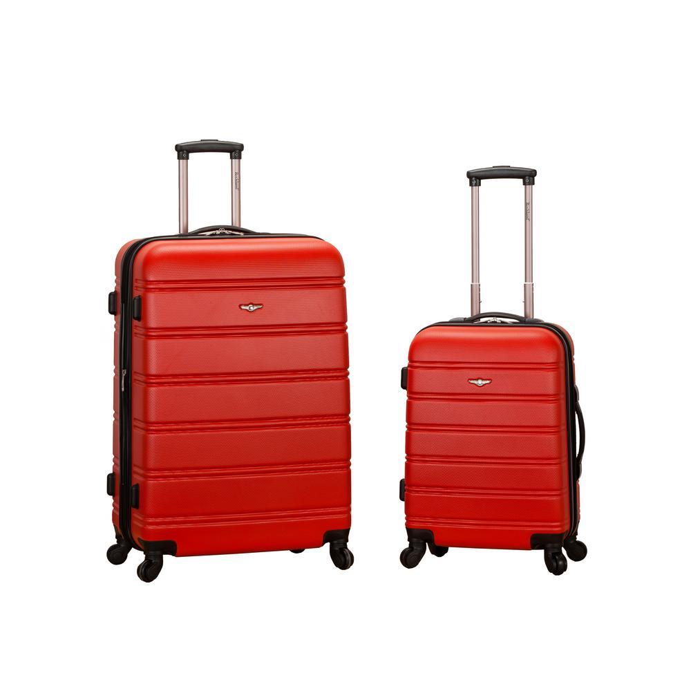 Rockland Melbourne Expandable 2-Piece Hardside Spinner Luggage Set, Red
